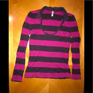 🦋 Long Sleeve Old Navy Pink Striped Shirt🦋